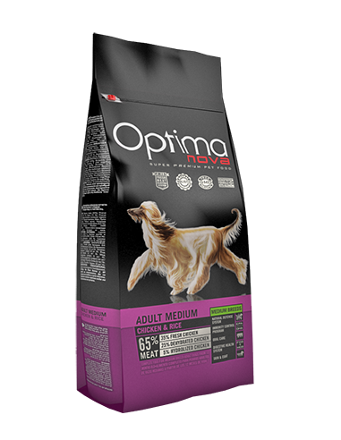 Optima-Nova-Adult-Medium-Grain-Free pollo-arroz-perros-alimentación-pienso